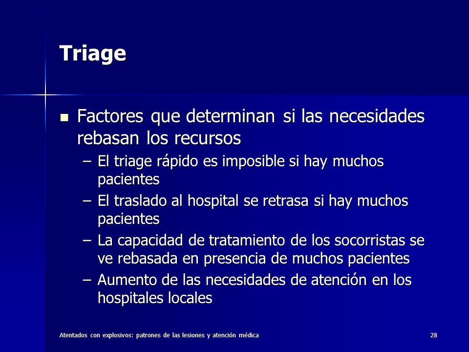 Atentados con explosivos: patrones de las lesiones y atención médica28 Triage Factores que determinan si las necesidades rebasan los recursos Factores