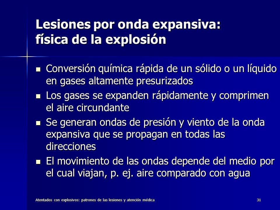 Atentados con explosivos: patrones de las lesiones y atención médica31 Lesiones por onda expansiva: física de la explosión Conversión química rápida d