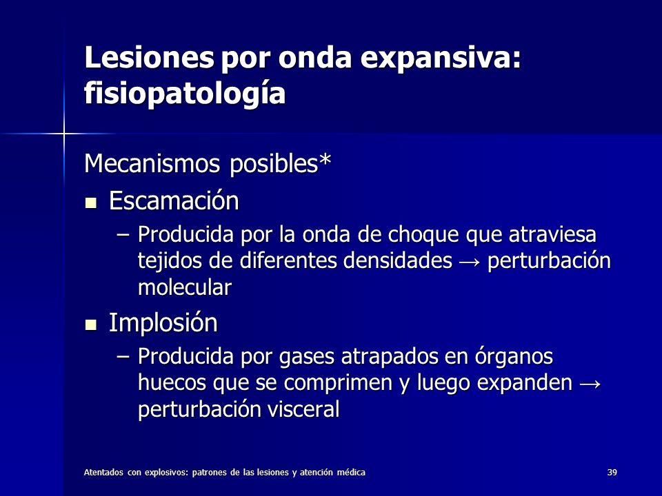 Atentados con explosivos: patrones de las lesiones y atención médica39 Lesiones por onda expansiva: fisiopatología Mecanismos posibles* Escamación Esc