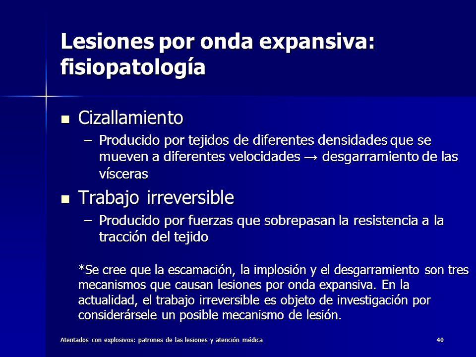 Atentados con explosivos: patrones de las lesiones y atención médica40 Lesiones por onda expansiva: fisiopatología Cizallamiento Cizallamiento –Produc