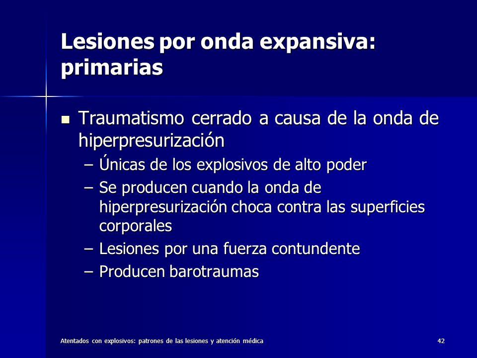 Atentados con explosivos: patrones de las lesiones y atención médica42 Lesiones por onda expansiva: primarias Traumatismo cerrado a causa de la onda d