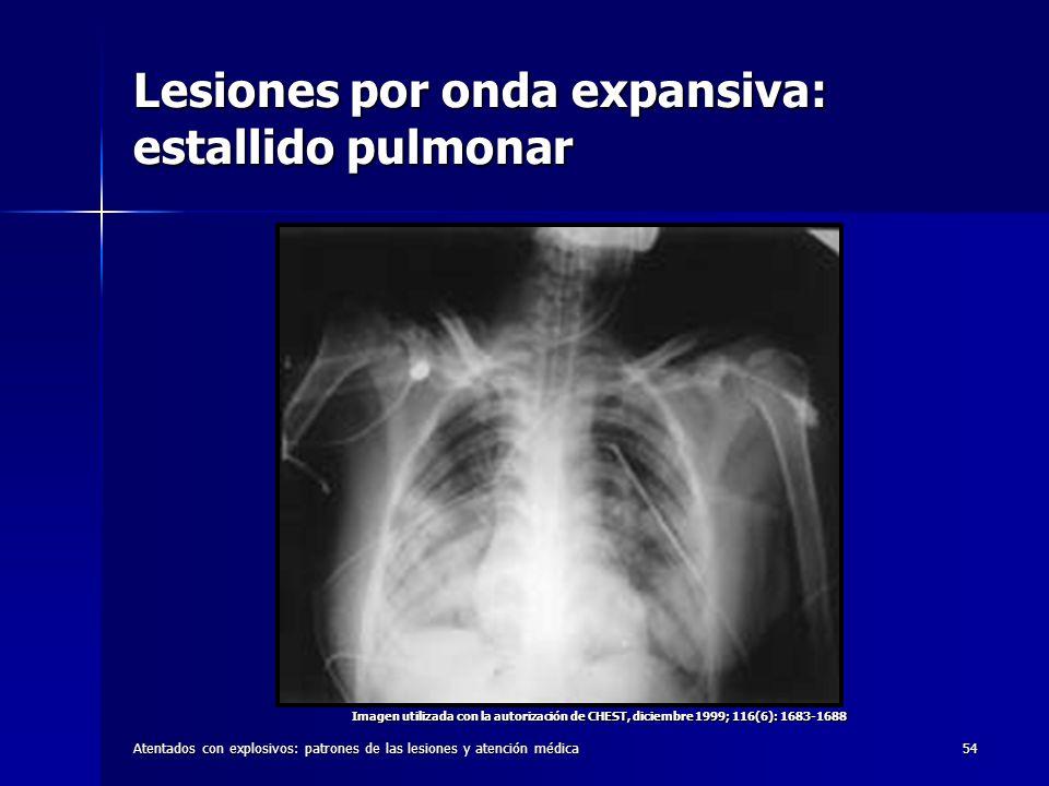 Atentados con explosivos: patrones de las lesiones y atención médica54 Lesiones por onda expansiva: estallido pulmonar Imagen utilizada con la autoriz