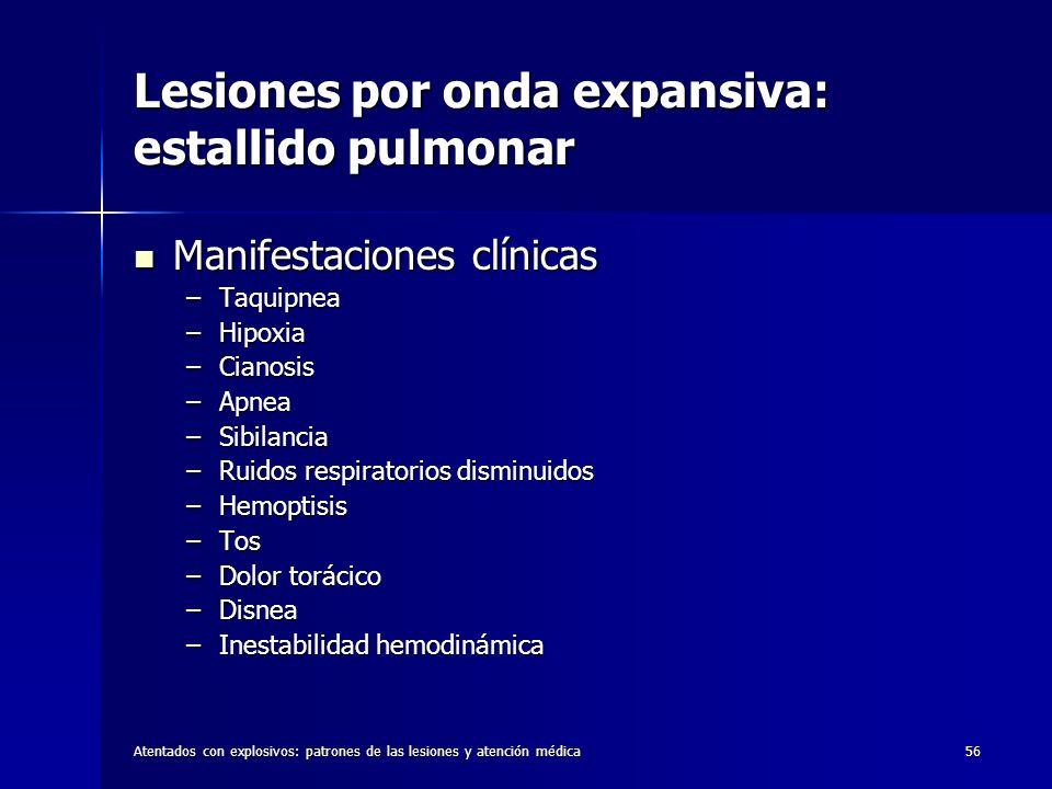 Atentados con explosivos: patrones de las lesiones y atención médica56 Lesiones por onda expansiva: estallido pulmonar Manifestaciones clínicas Manife