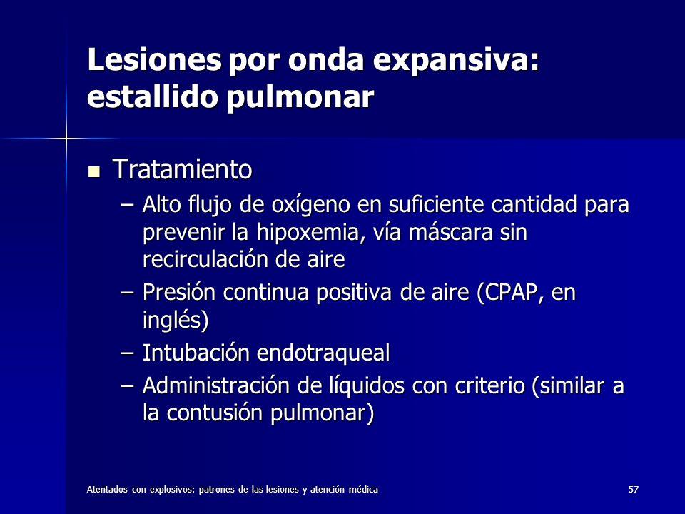 Atentados con explosivos: patrones de las lesiones y atención médica57 Lesiones por onda expansiva: estallido pulmonar Tratamiento Tratamiento –Alto f
