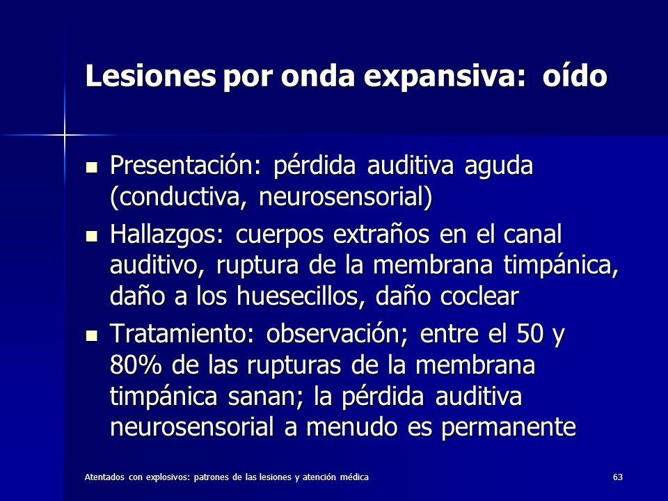 Atentados con explosivos: patrones de las lesiones y atención médica63 Lesiones por onda expansiva: oído Presentación: pérdida auditiva aguda (conduct