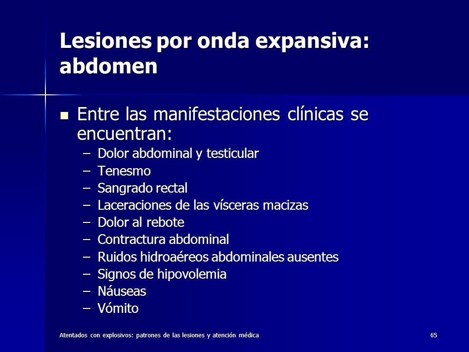 Atentados con explosivos: patrones de las lesiones y atención médica65 Lesiones por onda expansiva: abdomen Entre las manifestaciones clínicas se encu