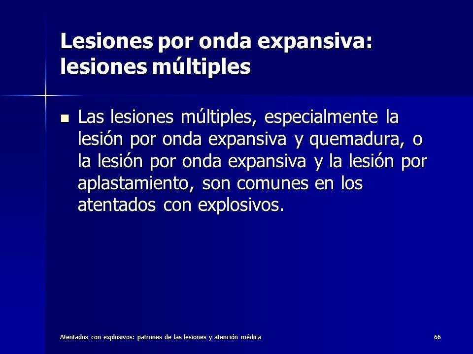 Atentados con explosivos: patrones de las lesiones y atención médica66 Lesiones por onda expansiva: lesiones múltiples Las lesiones múltiples, especia