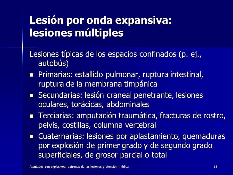 Atentados con explosivos: patrones de las lesiones y atención médica68 Lesión por onda expansiva: lesiones múltiples Lesiones típicas de los espacios