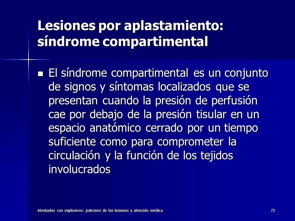 Atentados con explosivos: patrones de las lesiones y atención médica72 Lesiones por aplastamiento: síndrome compartimental El síndrome compartimental