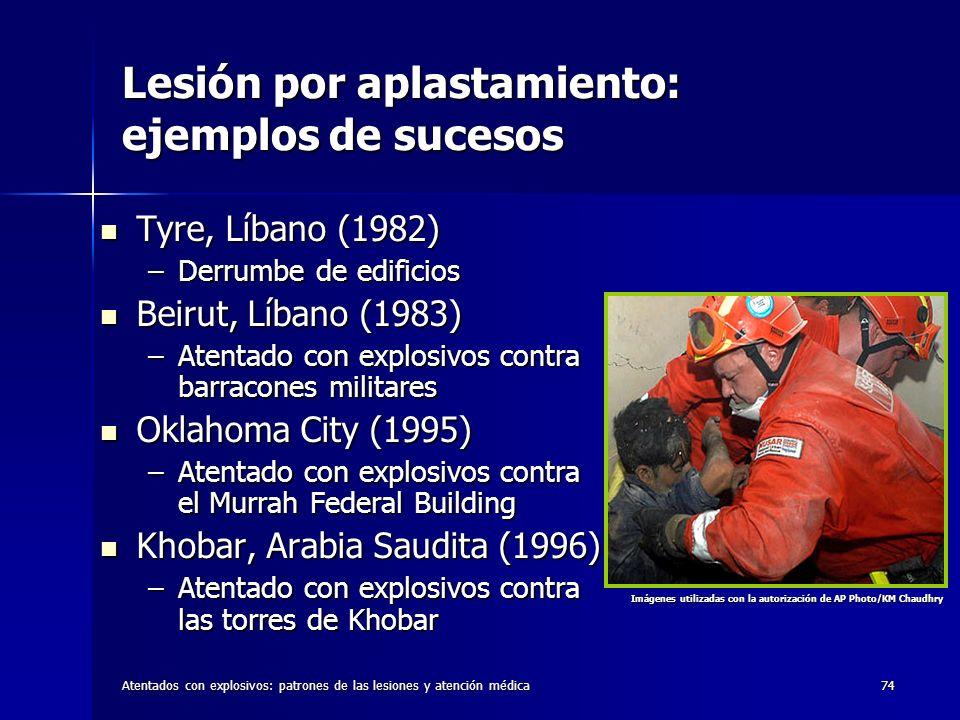 Atentados con explosivos: patrones de las lesiones y atención médica74 Lesión por aplastamiento: ejemplos de sucesos Tyre, Líbano (1982) Tyre, Líbano