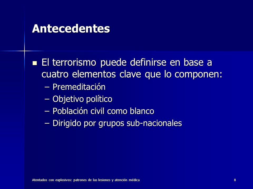 8 Antecedentes El terrorismo puede definirse en base a cuatro elementos clave que lo componen: El terrorismo puede definirse en base a cuatro elemento