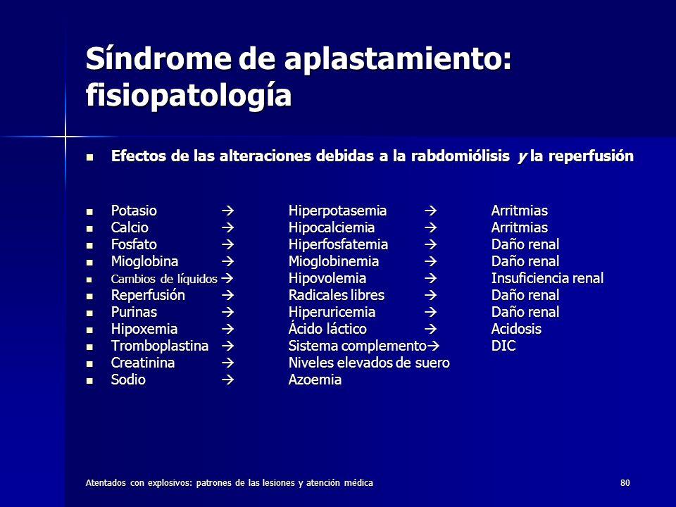 Atentados con explosivos: patrones de las lesiones y atención médica80 Síndrome de aplastamiento: fisiopatología Efectos de las alteraciones debidas a