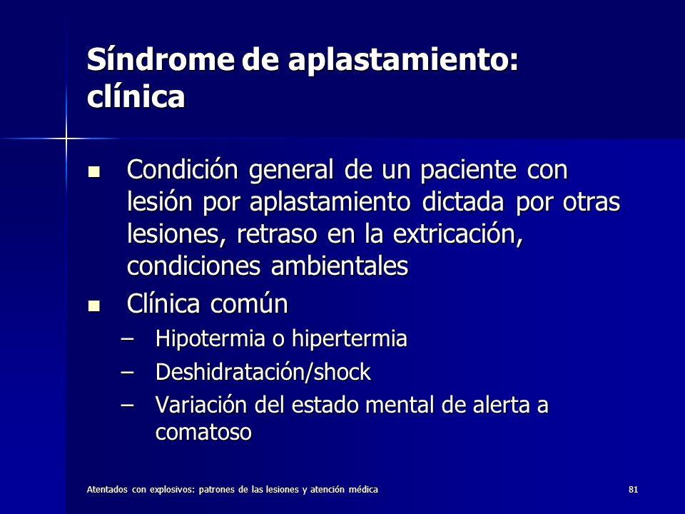 Atentados con explosivos: patrones de las lesiones y atención médica81 Síndrome de aplastamiento: clínica Condición general de un paciente con lesión
