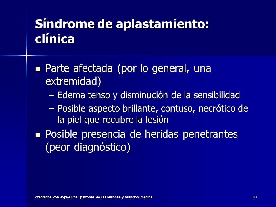 Atentados con explosivos: patrones de las lesiones y atención médica82 Síndrome de aplastamiento: clínica Parte afectada (por lo general, una extremid