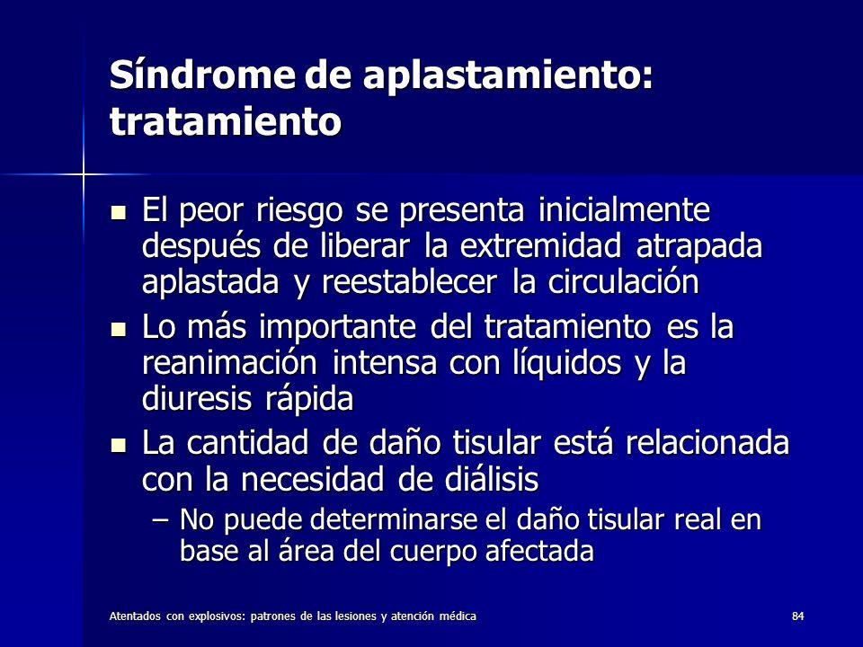 Atentados con explosivos: patrones de las lesiones y atención médica84 Síndrome de aplastamiento: tratamiento El peor riesgo se presenta inicialmente