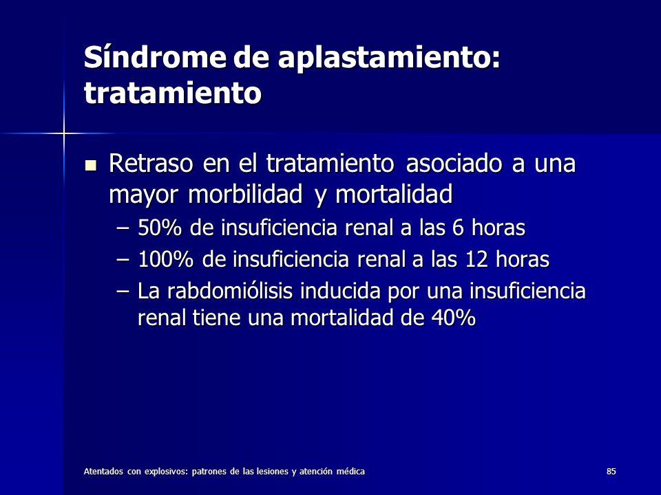 Atentados con explosivos: patrones de las lesiones y atención médica85 Síndrome de aplastamiento: tratamiento Retraso en el tratamiento asociado a una