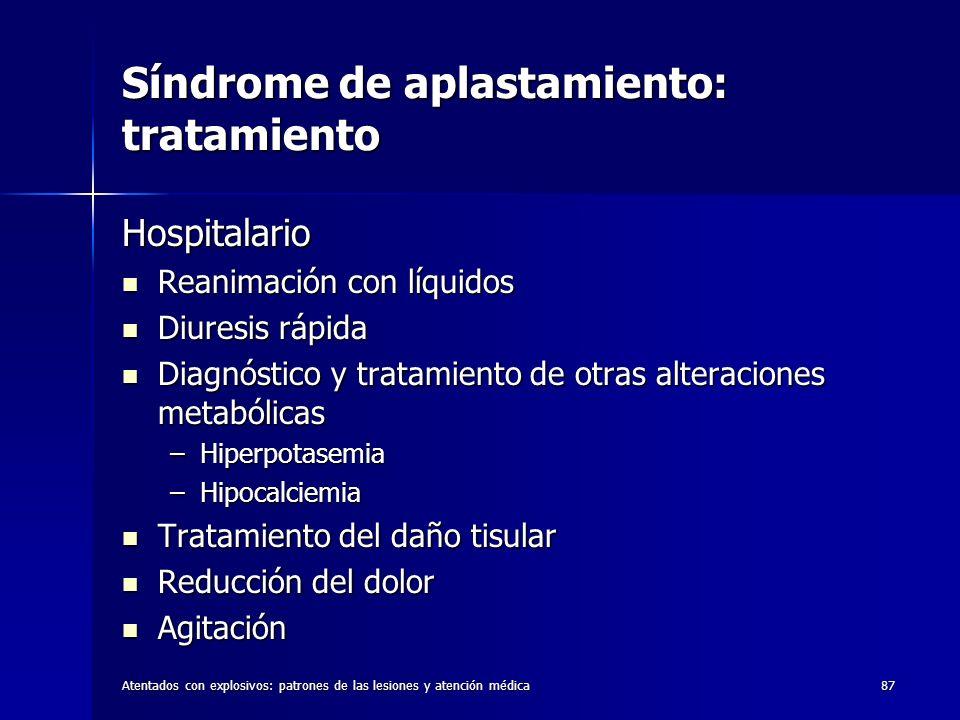Atentados con explosivos: patrones de las lesiones y atención médica87 Síndrome de aplastamiento: tratamiento Hospitalario Reanimación con líquidos Re