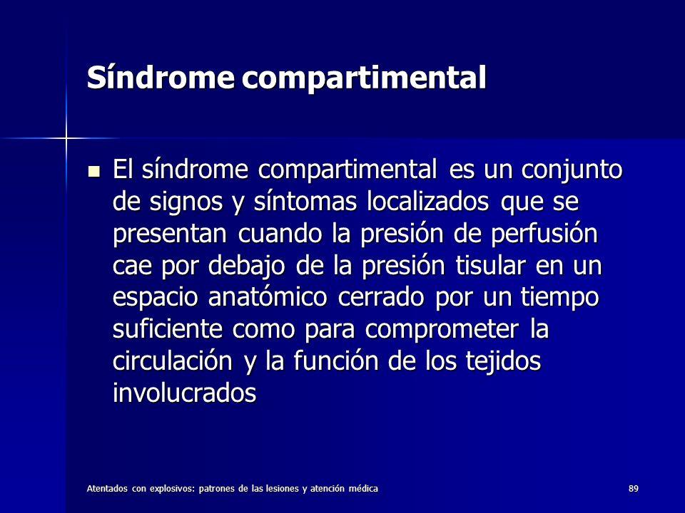 Atentados con explosivos: patrones de las lesiones y atención médica89 Síndrome compartimental El síndrome compartimental es un conjunto de signos y s
