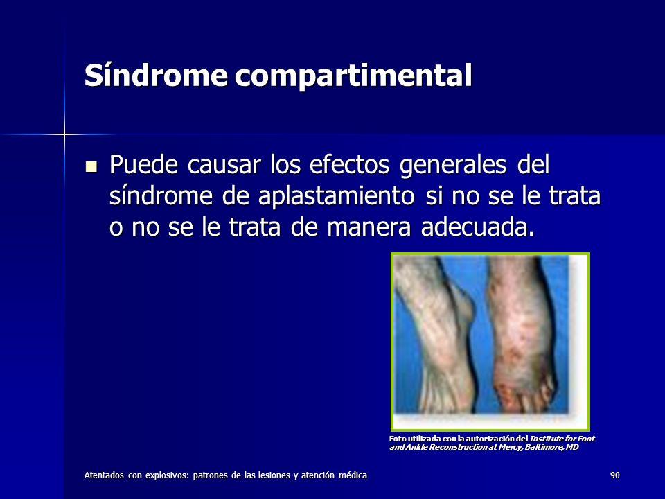 Atentados con explosivos: patrones de las lesiones y atención médica90 Síndrome compartimental Puede causar los efectos generales del síndrome de apla