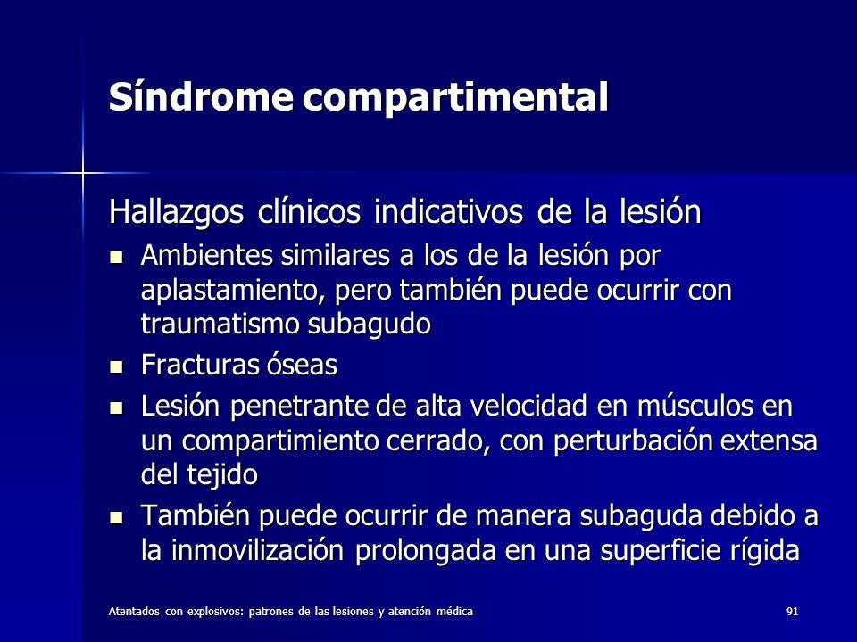 Atentados con explosivos: patrones de las lesiones y atención médica91 Síndrome compartimental Hallazgos clínicos indicativos de la lesión Ambientes s