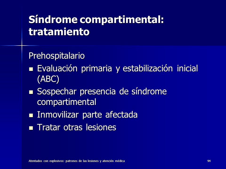 Atentados con explosivos: patrones de las lesiones y atención médica94 Síndrome compartimental: tratamiento Prehospitalario Evaluación primaria y esta
