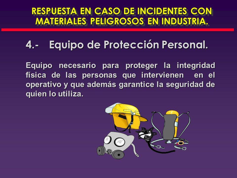 4.-Equipo de Protección Personal RESPUESTA EN CASO DE INCIDENTES CON MATERIALES PELIGROSOS EN INDUSTRIA