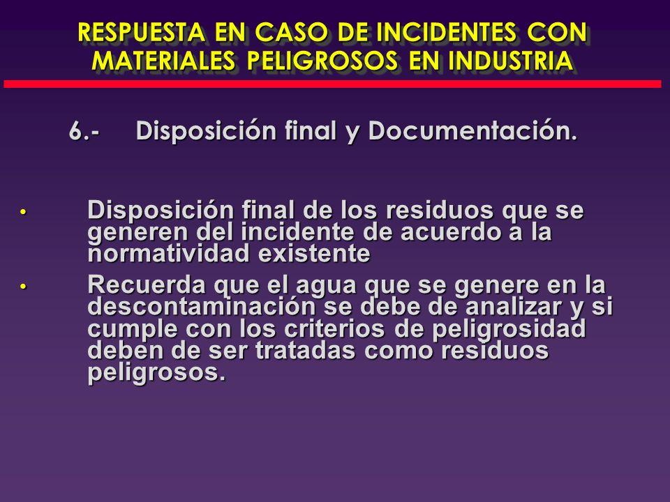 6.- Disposición Final Documentación RESPUESTA EN CASO DE INCIDENTES CON MATERIALES PELIGROSOS EN INDUSTRIA