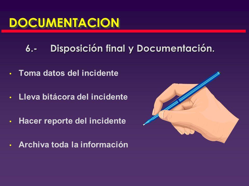 Disposición final de los residuos que se generen del incidente de acuerdo a la normatividad existente Disposición final de los residuos que se generen