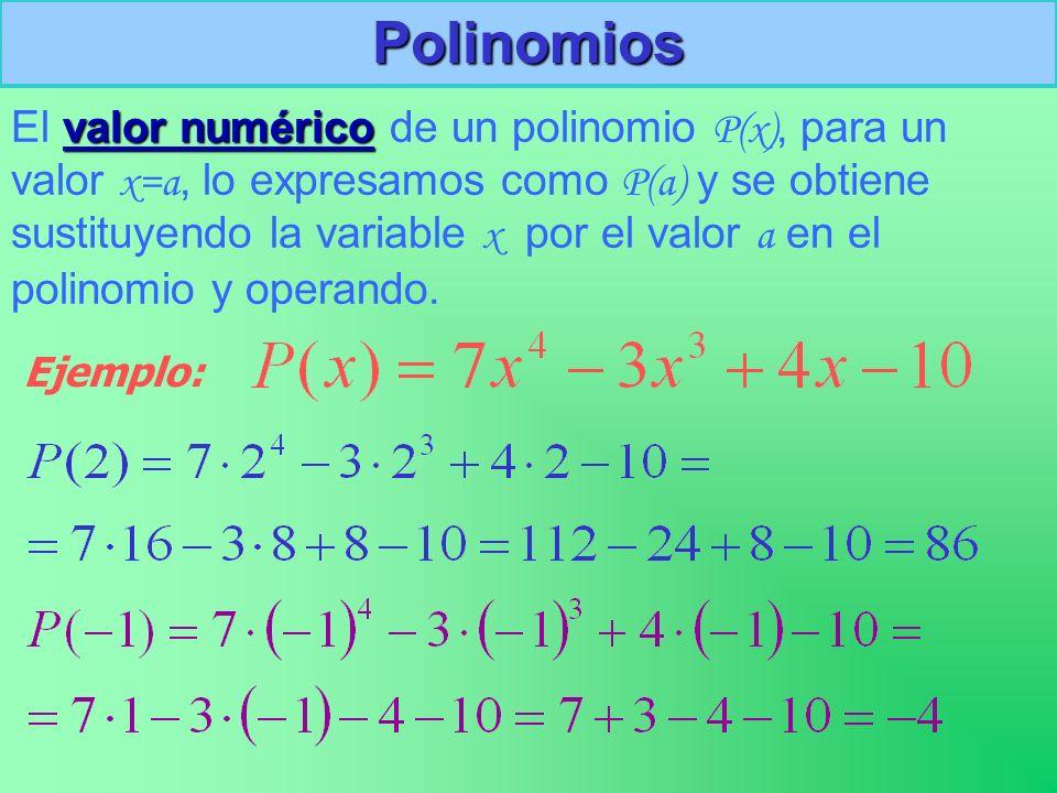 Polinomios valor numérico El valor numérico de un polinomio P(x), para un valor x=a, lo expresamos como P(a) y se obtiene sustituyendo la variable x por el valor a en el polinomio y operando.