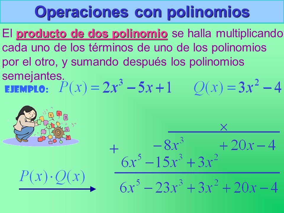 Operaciones con polinomios El p pp producto de dos polinomio se halla multiplicando cada uno de los términos de uno de los polinomios por el otro, y sumando después los polinomios semejantes.