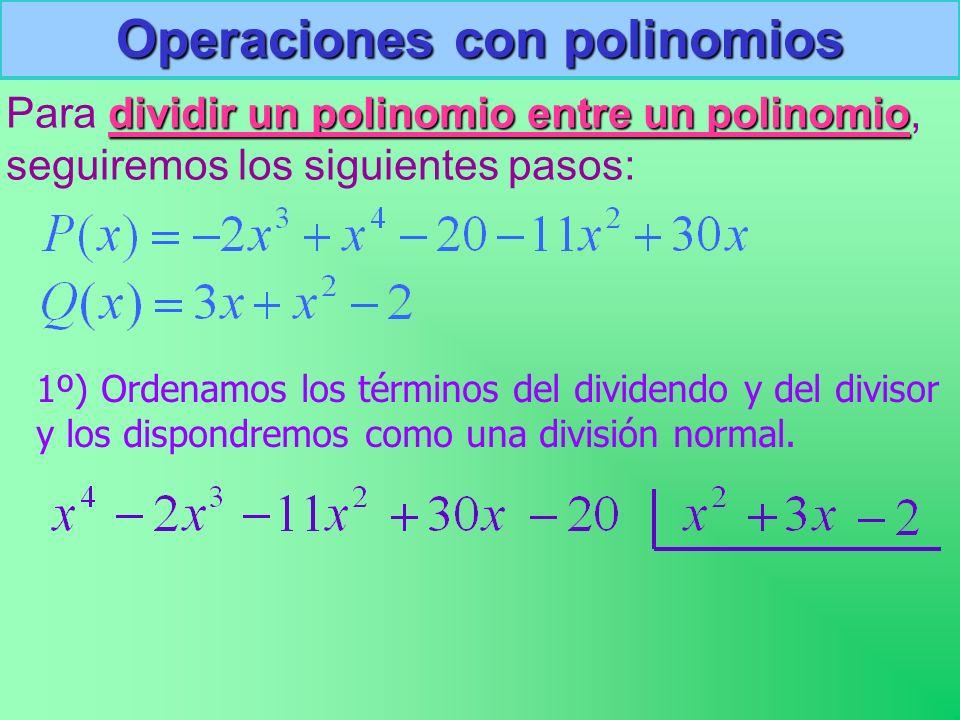 Operaciones con polinomios Para d dd dividir un polinomio entre un polinomio, seguiremos los siguientes pasos: 1º) Ordenamos los términos del dividendo y del divisor y los dispondremos como una división normal.