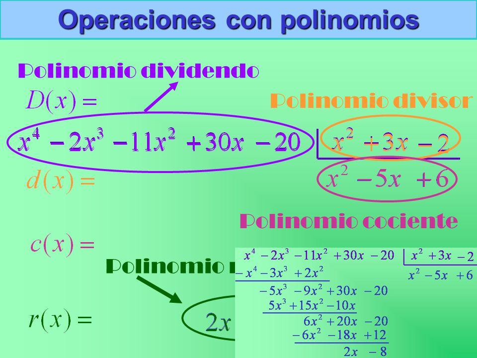 Polinomio dividendo Polinomio divisor Polinomio cociente Polinomio resto