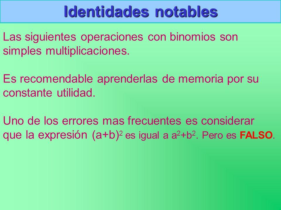 Identidades notables Las siguientes operaciones con binomios son simples multiplicaciones. Es recomendable aprenderlas de memoria por su constante uti