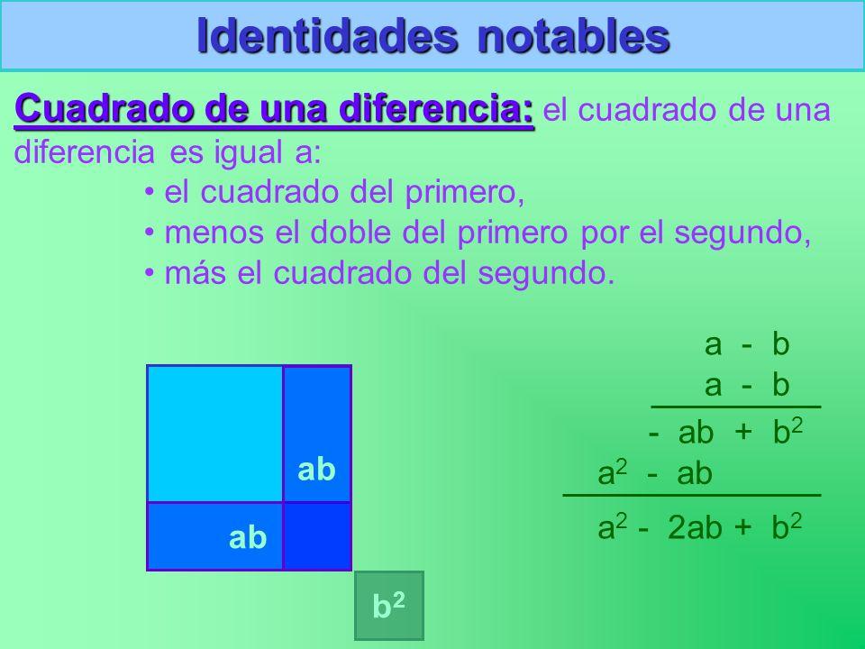 a2a2 (a-b) 2 Identidades notables Cuadrado de una diferencia: diferencia: el cuadrado de una diferencia es igual a: el cuadrado del primero, menos el doble del primero por el segundo, más el cuadrado del segundo.