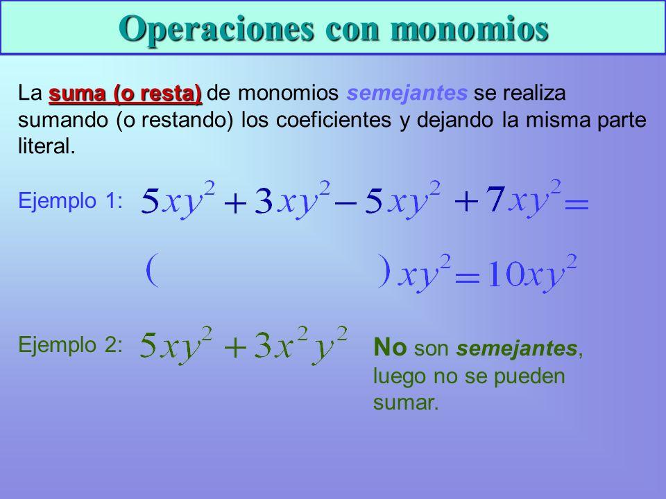 Operaciones con monomios La s ss suma (o resta) de monomios semejantes se realiza sumando (o restando) los coeficientes y dejando la misma parte literal.