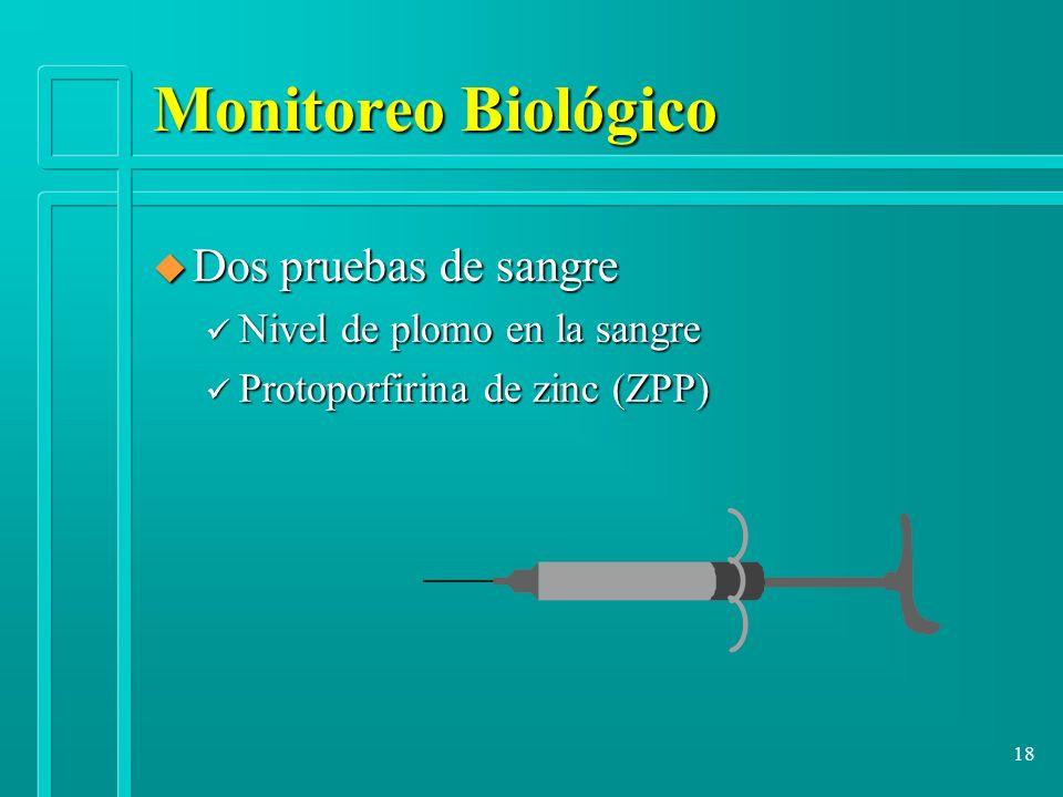 18 Monitoreo Biológico u Dos pruebas de sangre ü Nivel de plomo en la sangre ü Protoporfirina de zinc (ZPP)