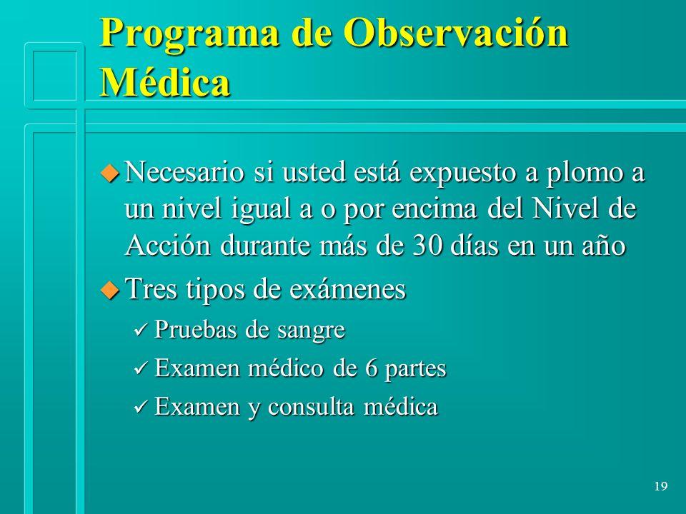 19 Programa de Observación Médica u Necesario si usted está expuesto a plomo a un nivel igual a o por encima del Nivel de Acción durante más de 30 día