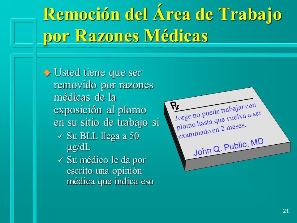 21 Remoción del Área de Trabajo por Razones Médicas u Usted tiene que ser removido por razones médicas de la exposición al plomo en su sitio de trabaj