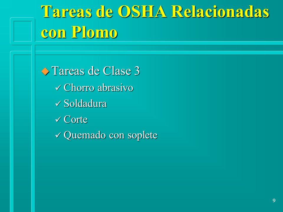 9 u Tareas de Clase 3 ü Chorro abrasivo ü Soldadura ü Corte ü Quemado con soplete Tareas de OSHA Relacionadas con Plomo