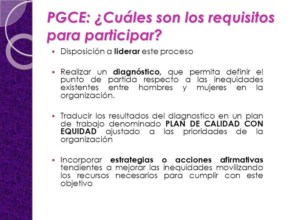 PGCE: ¿Cuáles son los requisitos para participar? Disposición a liderar este proceso Realizar un diagnóstico, que permita definir el punto de partida