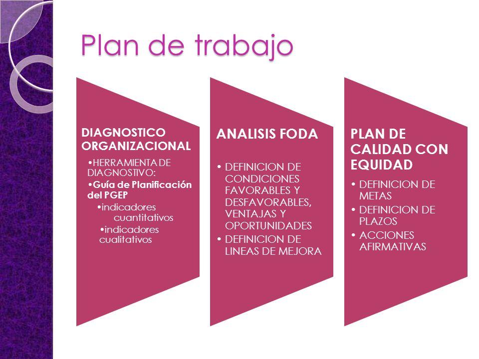 Plan de trabajo DIAGNOSTICO ORGANIZACIONAL HERRAMIENTA DE DIAGNOSTIVO: Guía de Planificación del PGEP indicadores cuantitativos indicadores cualitativos ANALISIS FODA DEFINICION DE CONDICIONES FAVORABLES Y DESFAVORABLES, VENTAJAS Y OPORTUNIDADES DEFINICION DE LINEAS DE MEJORA PLAN DE CALIDAD CON EQUIDAD DEFINICION DE METAS DEFINICION DE PLAZOS ACCIONES AFIRMATIVAS