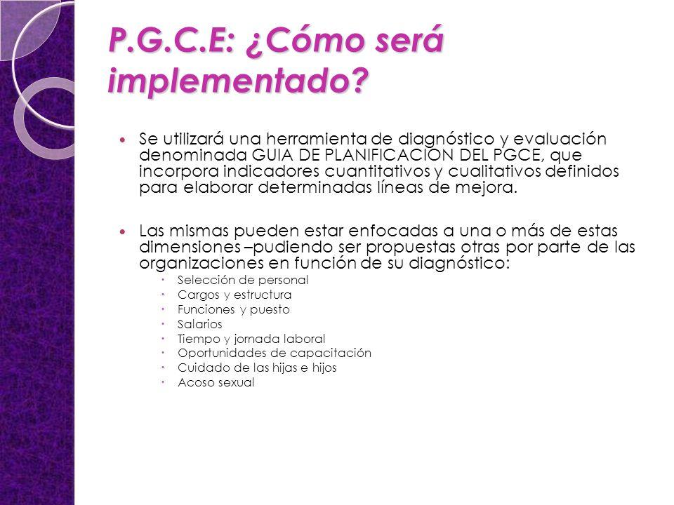 P.G.C.E: ¿Cómo será implementado? Se utilizará una herramienta de diagnóstico y evaluación denominada GUIA DE PLANIFICACION DEL PGCE, que incorpora in