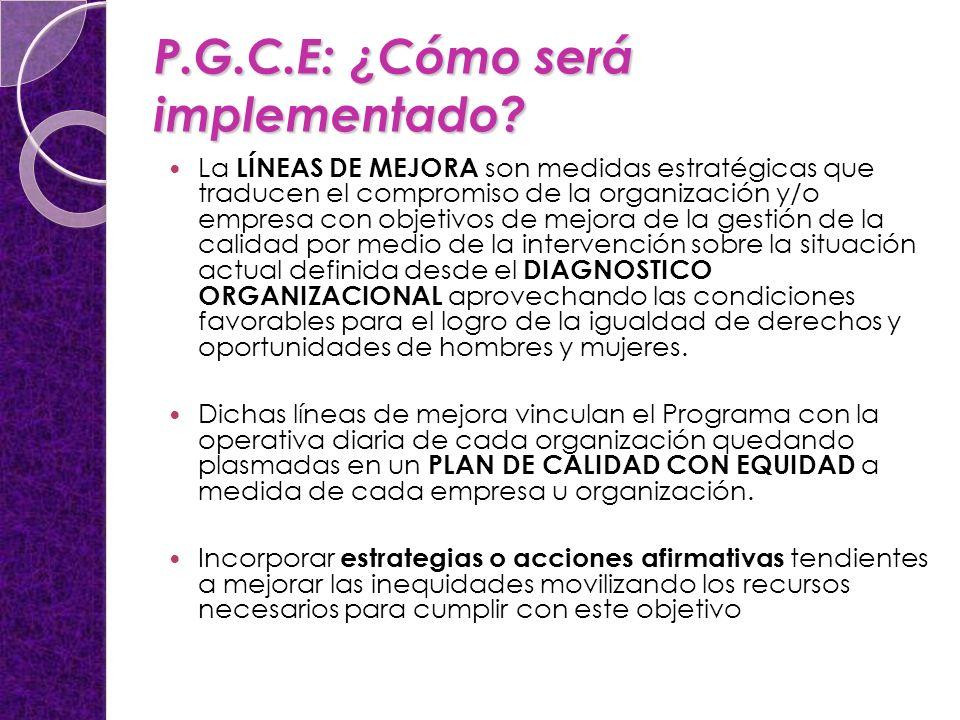 P.G.C.E: ¿Cómo será implementado.