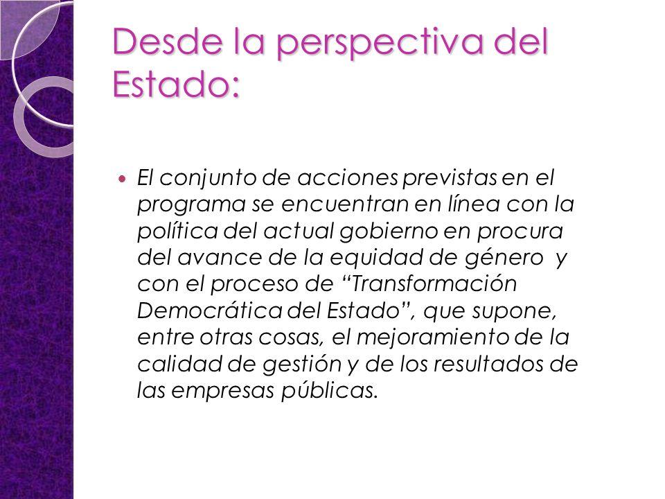 Desde la perspectiva del Estado: El conjunto de acciones previstas en el programa se encuentran en línea con la política del actual gobierno en procur