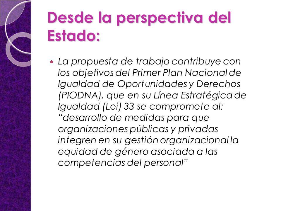 Desde la perspectiva del Estado: La propuesta de trabajo contribuye con los objetivos del Primer Plan Nacional de Igualdad de Oportunidades y Derechos