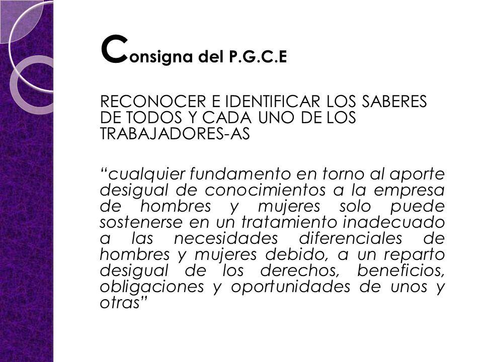 C onsigna del P.G.C.E RECONOCER E IDENTIFICAR LOS SABERES DE TODOS Y CADA UNO DE LOS TRABAJADORES-AS cualquier fundamento en torno al aporte desigual