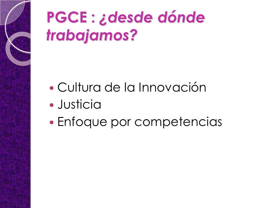 PGCE : ¿desde dónde trabajamos? Cultura de la Innovación Justicia Enfoque por competencias