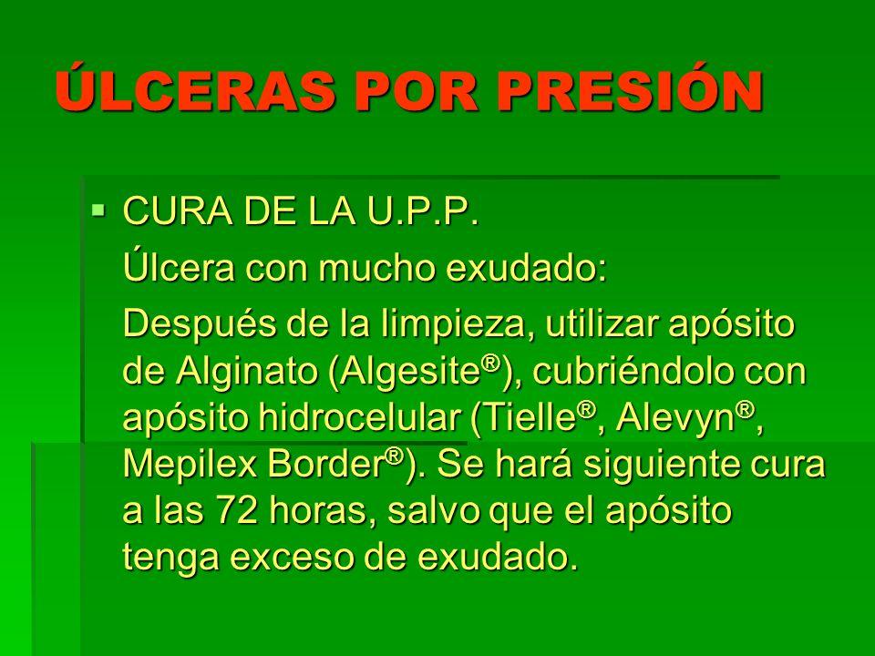 ÚLCERAS POR PRESIÓN CURA DE LA U.P.P. CURA DE LA U.P.P. Úlcera con mucho exudado: Después de la limpieza, utilizar apósito de Alginato (Algesite ® ),