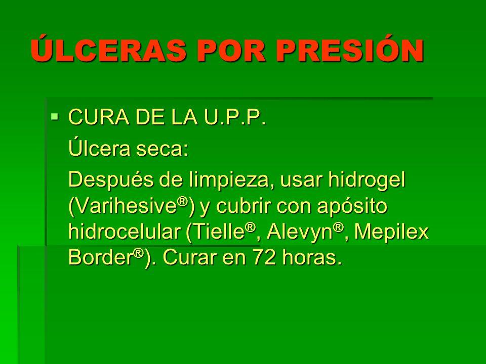 ÚLCERAS POR PRESIÓN CURA DE LA U.P.P. CURA DE LA U.P.P. Úlcera seca: Después de limpieza, usar hidrogel (Varihesive ® ) y cubrir con apósito hidrocelu