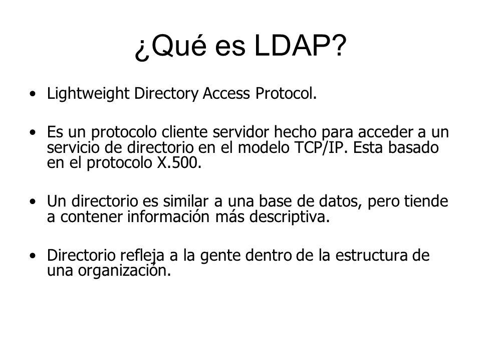 ¿Qué es LDAP? Lightweight Directory Access Protocol. Es un protocolo cliente servidor hecho para acceder a un servicio de directorio en el modelo TCP/